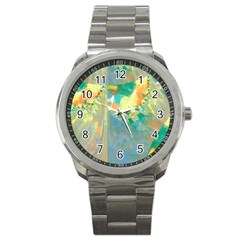 Abstract Flower Design In Turquoise And Yellows Sport Metal Watches