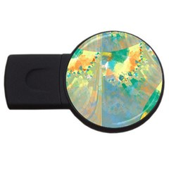 Abstract Flower Design In Turquoise And Yellows Usb Flash Drive Round (4 Gb)