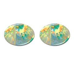 Abstract Flower Design in Turquoise and Yellows Cufflinks (Oval)