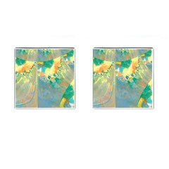 Abstract Flower Design in Turquoise and Yellows Cufflinks (Square)