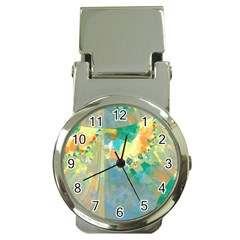 Abstract Flower Design In Turquoise And Yellows Money Clip Watches