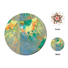 Abstract Flower Design in Turquoise and Yellows Playing Cards (Round)