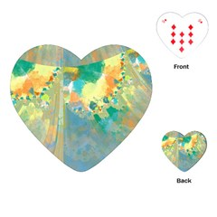 Abstract Flower Design in Turquoise and Yellows Playing Cards (Heart)