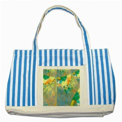 Abstract Flower Design In Turquoise And Yellows Striped Blue Tote Bag