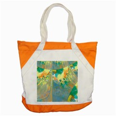 Abstract Flower Design In Turquoise And Yellows Accent Tote Bag