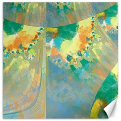 Abstract Flower Design in Turquoise and Yellows Canvas 12  x 12