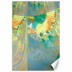 Abstract Flower Design In Turquoise And Yellows Canvas 12  X 18