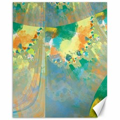 Abstract Flower Design In Turquoise And Yellows Canvas 16  X 20