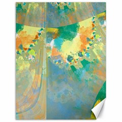 Abstract Flower Design In Turquoise And Yellows Canvas 18  X 24