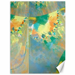 Abstract Flower Design In Turquoise And Yellows Canvas 36  X 48