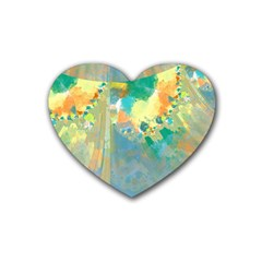 Abstract Flower Design In Turquoise And Yellows Heart Coaster (4 Pack)