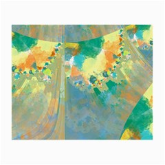 Abstract Flower Design In Turquoise And Yellows Small Glasses Cloth (2 Side)