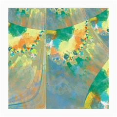 Abstract Flower Design In Turquoise And Yellows Medium Glasses Cloth