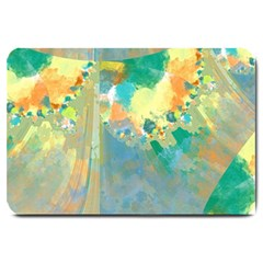 Abstract Flower Design In Turquoise And Yellows Large Doormat