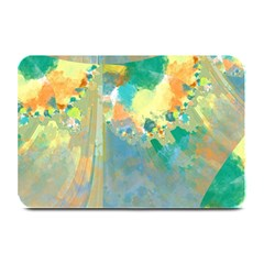 Abstract Flower Design in Turquoise and Yellows Plate Mats