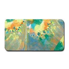 Abstract Flower Design in Turquoise and Yellows Medium Bar Mats