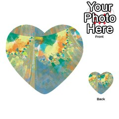 Abstract Flower Design in Turquoise and Yellows Multi-purpose Cards (Heart)