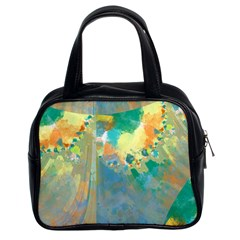 Abstract Flower Design In Turquoise And Yellows Classic Handbags (2 Sides)
