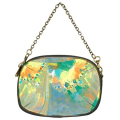 Abstract Flower Design In Turquoise And Yellows Chain Purses (one Side)