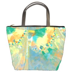 Abstract Flower Design in Turquoise and Yellows Bucket Bags