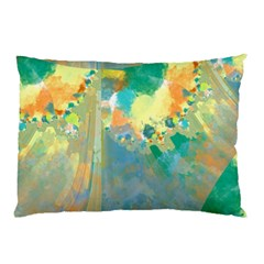 Abstract Flower Design in Turquoise and Yellows Pillow Cases