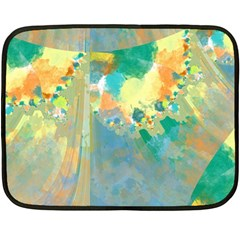 Abstract Flower Design in Turquoise and Yellows Fleece Blanket (Mini)