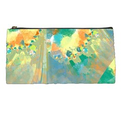 Abstract Flower Design in Turquoise and Yellows Pencil Cases
