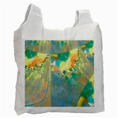 Abstract Flower Design In Turquoise And Yellows Recycle Bag (two Side)