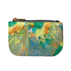 Abstract Flower Design In Turquoise And Yellows Mini Coin Purses