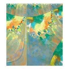Abstract Flower Design in Turquoise and Yellows Shower Curtain 66  x 72  (Large)