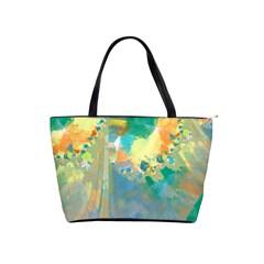 Abstract Flower Design In Turquoise And Yellows Shoulder Handbags