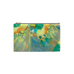 Abstract Flower Design In Turquoise And Yellows Cosmetic Bag (small)