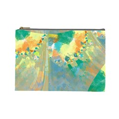 Abstract Flower Design in Turquoise and Yellows Cosmetic Bag (Large)
