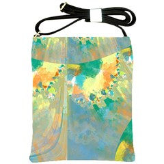 Abstract Flower Design in Turquoise and Yellows Shoulder Sling Bags