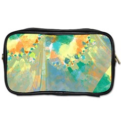 Abstract Flower Design In Turquoise And Yellows Toiletries Bags