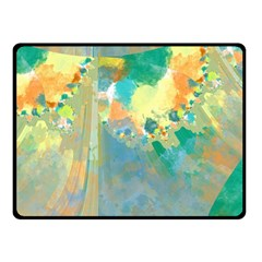 Abstract Flower Design in Turquoise and Yellows Fleece Blanket (Small)