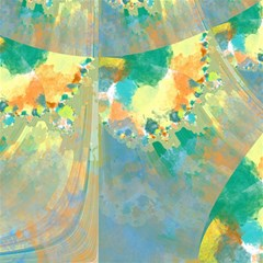 Abstract Flower Design in Turquoise and Yellows Magic Photo Cubes