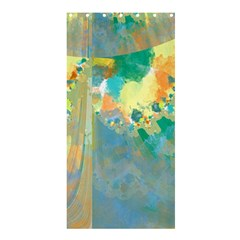Abstract Flower Design In Turquoise And Yellows Shower Curtain 36  X 72  (stall)