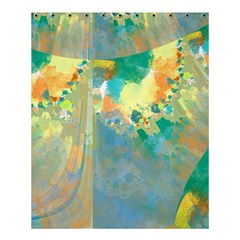 Abstract Flower Design in Turquoise and Yellows Shower Curtain 60  x 72  (Medium)