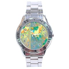 Abstract Flower Design In Turquoise And Yellows Stainless Steel Men s Watch