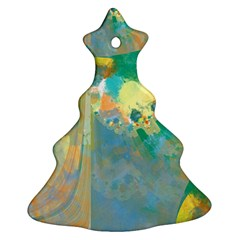 Abstract Flower Design in Turquoise and Yellows Ornament (Christmas Tree)