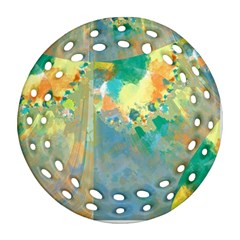 Abstract Flower Design In Turquoise And Yellows Round Filigree Ornament (2side)