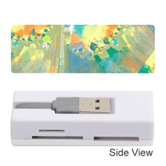 Abstract Flower Design In Turquoise And Yellows Memory Card Reader (stick)