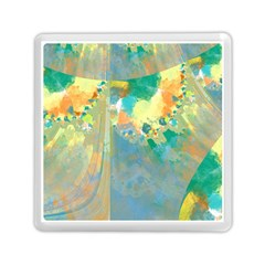 Abstract Flower Design in Turquoise and Yellows Memory Card Reader (Square)