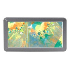 Abstract Flower Design In Turquoise And Yellows Memory Card Reader (mini)