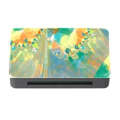 Abstract Flower Design In Turquoise And Yellows Memory Card Reader With Cf