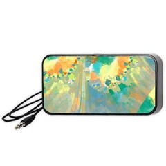 Abstract Flower Design In Turquoise And Yellows Portable Speaker (black)