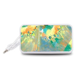 Abstract Flower Design in Turquoise and Yellows Portable Speaker (White)
