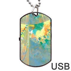 Abstract Flower Design In Turquoise And Yellows Dog Tag Usb Flash (one Side)