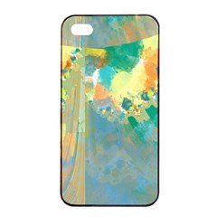 Abstract Flower Design in Turquoise and Yellows Apple iPhone 4/4s Seamless Case (Black)